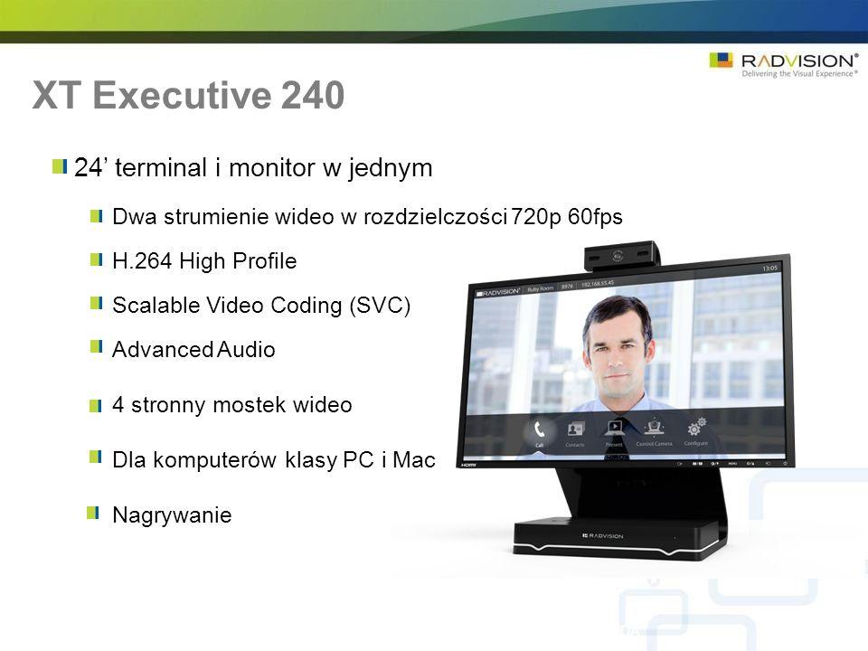 24 terminal i monitor w jednym Dwa strumienie wideo w rozdzielczości 720p 60fps H.264 High Profile Scalable Video Coding (SVC) Advanced Audio 4 stronny mostek wideo Dla komputerów klasy PC i Mac Nagrywanie XT Executive 240 RADVISION Confidential – Do not disclose without NDA