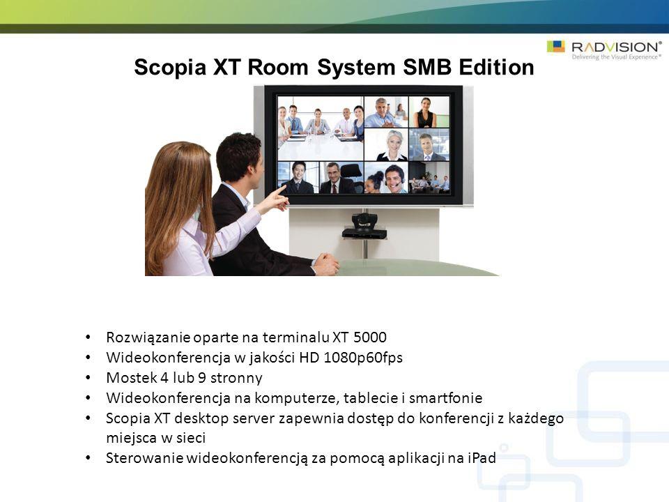 Scopia XT Room System SMB Edition Rozwiązanie oparte na terminalu XT 5000 Wideokonferencja w jakości HD 1080p60fps Mostek 4 lub 9 stronny Wideokonfere