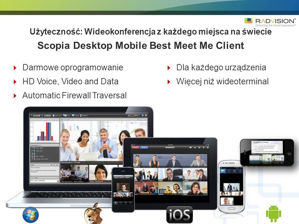 5 Darmowe oprogramowanie HD Voice, Video and Data Automatic Firewall Traversal Dla każdego urządzenia Więcej niż wideoterminal Użyteczność: Wideokonferencja z każdego miejsca na świecie Scopia Desktop Mobile Best Meet Me Client