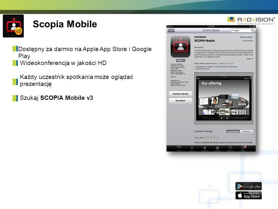 Dostępny za darmio na Apple App Store i Google Play Wideokonferencja w jakości HD Każdy uczestnik spotkania może oglądać prezentację Szukaj SCOPIA Mobile v3 Scopia Mobile