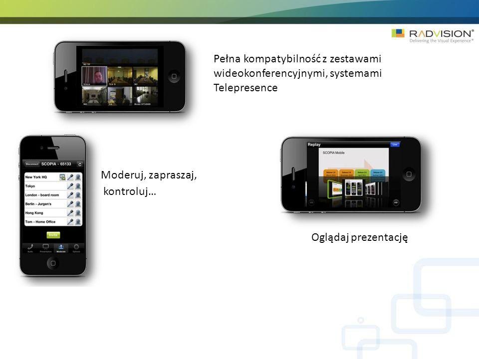 Pełna kompatybilność z zestawami wideokonferencyjnymi, systemami Telepresence Moderuj, zapraszaj, kontroluj… Oglądaj prezentację