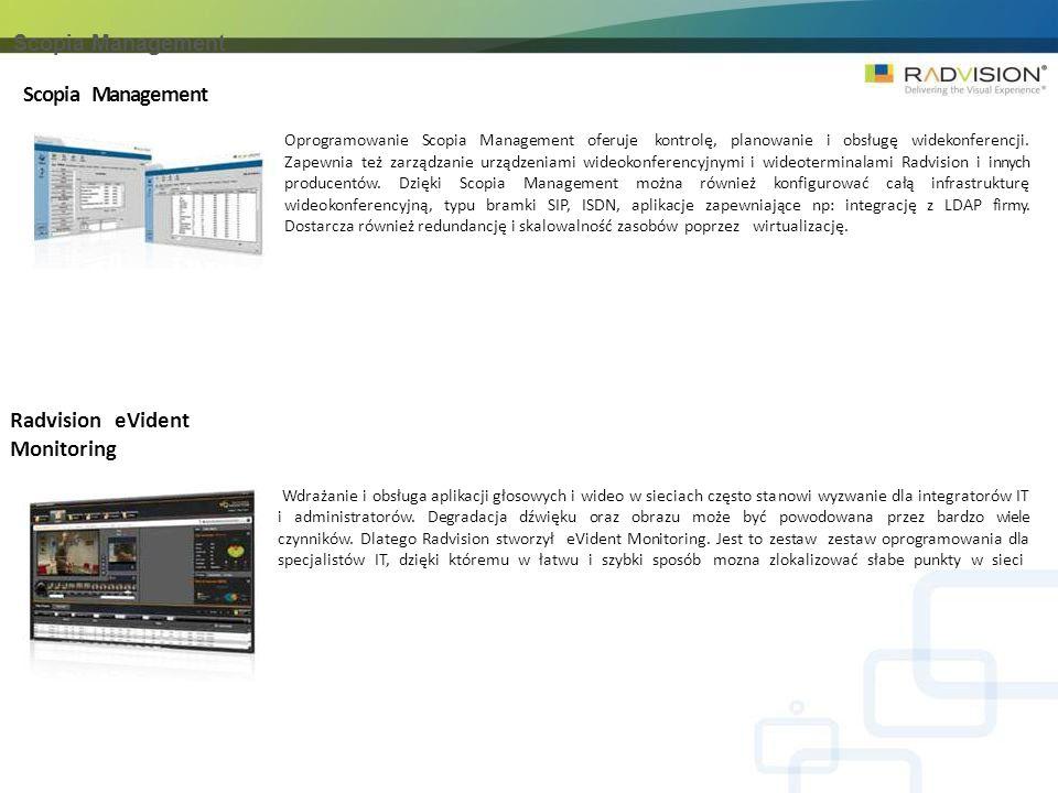 Scopia Management Oprogramowanie Scopia Management oferuje kontrolę, planowanie i obsługę widekonferencji.
