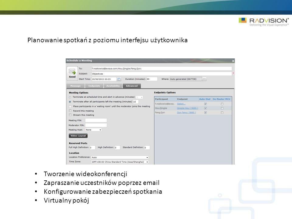 Planowanie spotkań z poziomu interfejsu użytkownika Tworzenie wideokonferencji Zapraszanie uczestników poprzez email Konfigurowanie zabezpieczeń spotkania Virtualny pokój