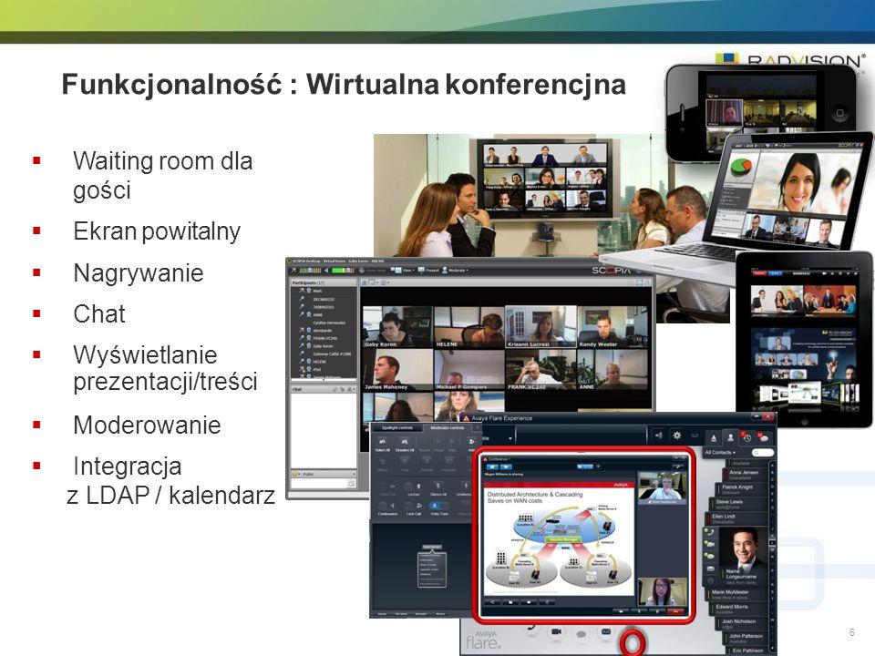 Funkcjonalność : Wirtualna konferencjna Waiting room dla gości Ekran powitalny Nagrywanie Chat Wyświetlanie prezentacji/treści Moderowanie Integracja z LDAP / kalendarz 6