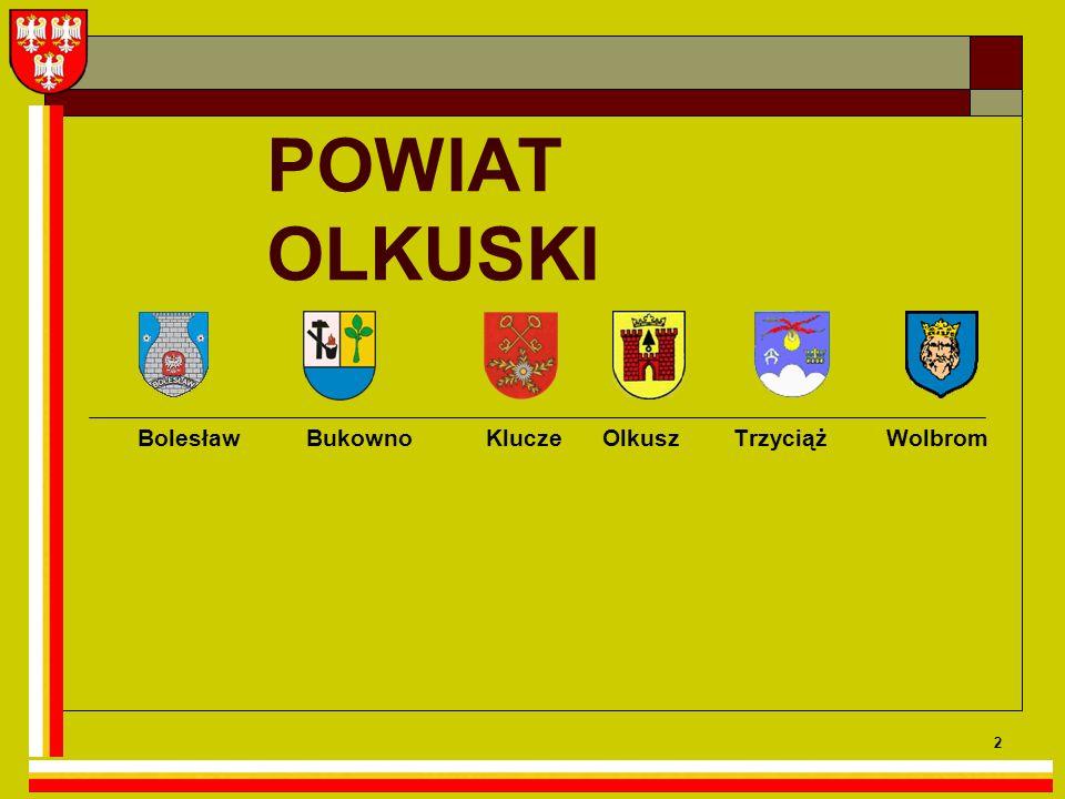 3 Powiat olkuski Jest to region rolniczo-przemysłowy, obejmujący 6 gmin, o dużym zróżnicowaniu gęstości zaludnienia, z największym miastem Olkusz, skupiającym 64 % mieszkańców powiatu.