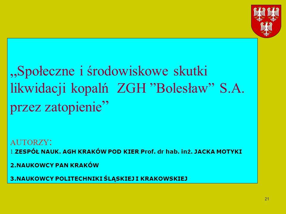 21 Społeczne i środowiskowe skutki likwidacji kopalń ZGH Bolesław S.A. przez zatopienie AUTORZY : 1. ZESPÓŁ NAUK. AGH KRAKÓW POD KIER. Prof. dr hab. i