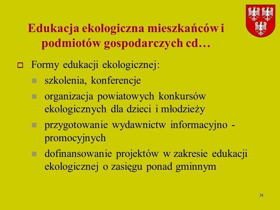 34 Edukacja ekologiczna mieszkańców i podmiotów gospodarczych cd… Formy edukacji ekologicznej: szkolenia, konferencje organizacja powiatowych konkursó