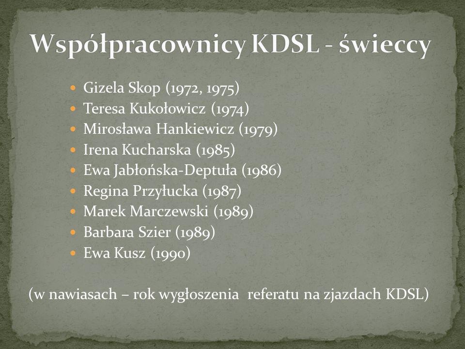 Gizela Skop (1972, 1975) Teresa Kukołowicz (1974) Mirosława Hankiewicz (1979) Irena Kucharska (1985) Ewa Jabłońska-Deptuła (1986) Regina Przyłucka (1987) Marek Marczewski (1989) Barbara Szier (1989) Ewa Kusz (1990) (w nawiasach – rok wygłoszenia referatu na zjazdach KDSL)
