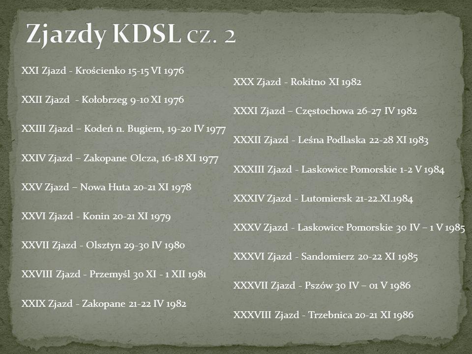 XXI Zjazd - Krościenko 15-15 VI 1976 XXII Zjazd - Kołobrzeg 9-10 XI 1976 XXIII Zjazd – Kodeń n. Bugiem, 19-20 IV 1977 XXIV Zjazd – Zakopane Olcza, 16-