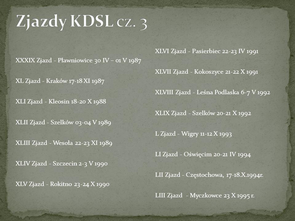 XXXIX Zjazd - Pławniowice 30 IV – 01 V 1987 XL Zjazd - Kraków 17-18 XI 1987 XLI Zjazd - Kleosin 18-20 X 1988 XLII Zjazd - Szelków 03-04 V 1989 XLIII Z