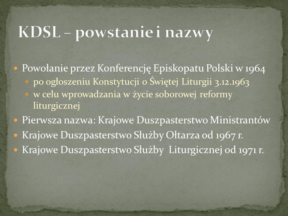 Powołanie przez Konferencję Episkopatu Polski w 1964 po ogłoszeniu Konstytucji o Świętej Liturgii 3.12.1963 w celu wprowadzania w życie soborowej reformy liturgicznej Pierwsza nazwa: Krajowe Duszpasterstwo Ministrantów Krajowe Duszpasterstwo Służby Ołtarza od 1967 r.