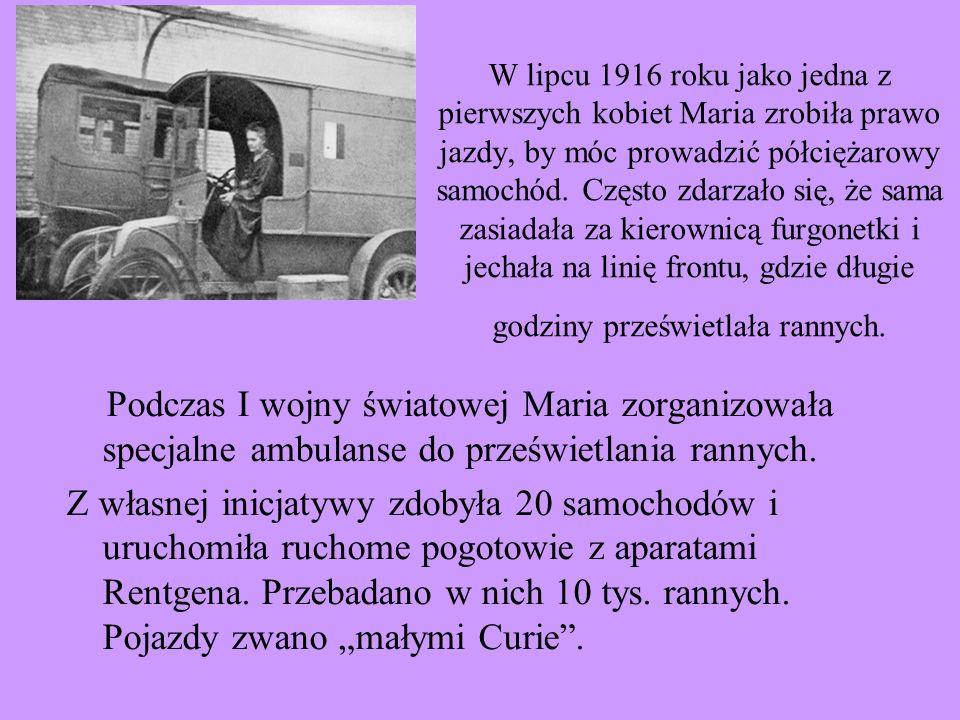 W lipcu 1916 roku jako jedna z pierwszych kobiet Maria zrobiła prawo jazdy, by móc prowadzić półciężarowy samochód. Często zdarzało się, że sama zasia