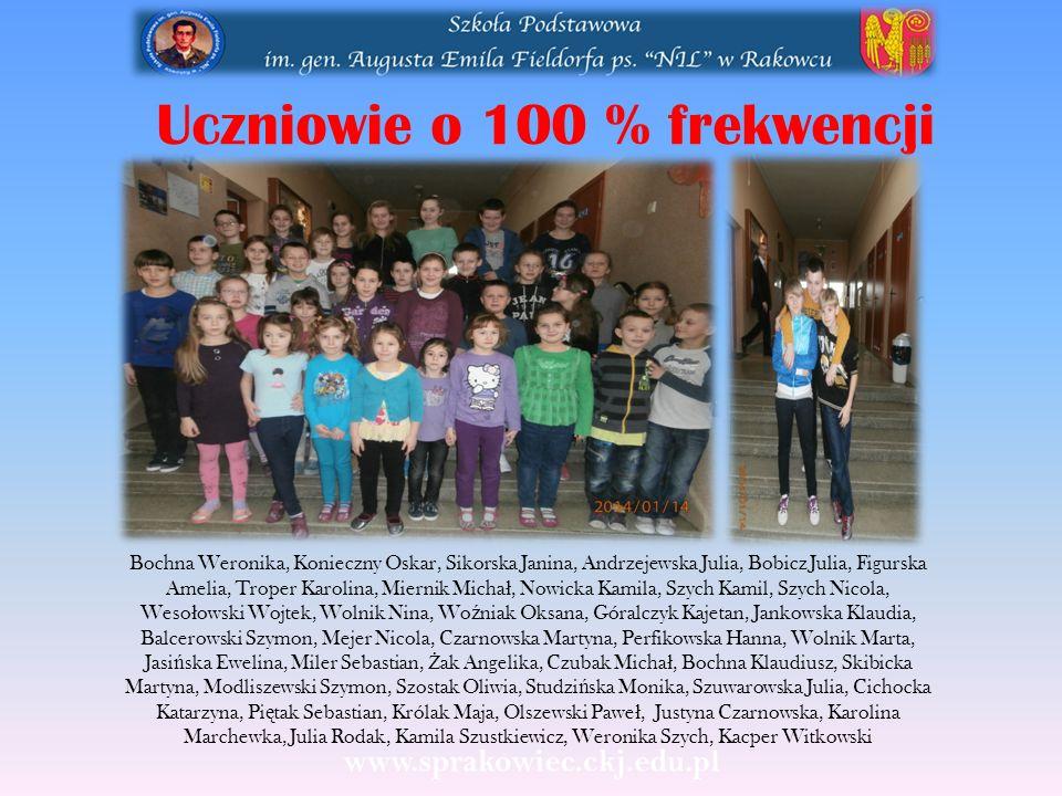 Uczniowie o 100 % frekwencji Bochna Weronika, Konieczny Oskar, Sikorska Janina, Andrzejewska Julia, Bobicz Julia, Figurska Amelia, Troper Karolina, Mi