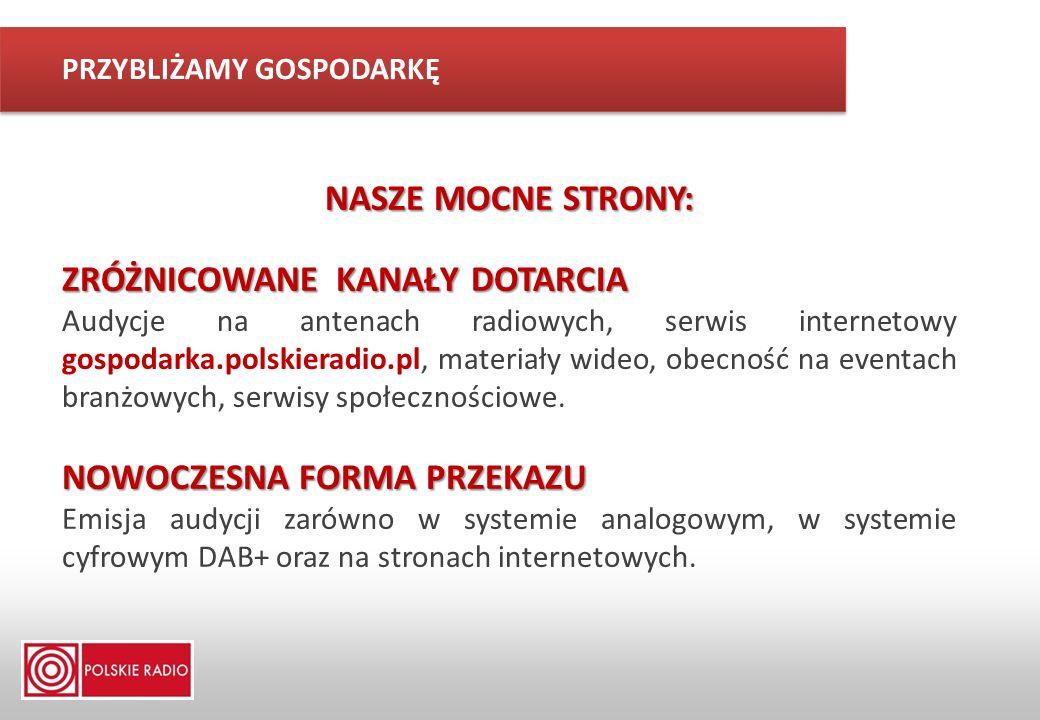 NASZE MOCNE STRONY: ZRÓŻNICOWANE KANAŁY DOTARCIA Audycje na antenach radiowych, serwis internetowy gospodarka.polskieradio.pl, materiały wideo, obecno