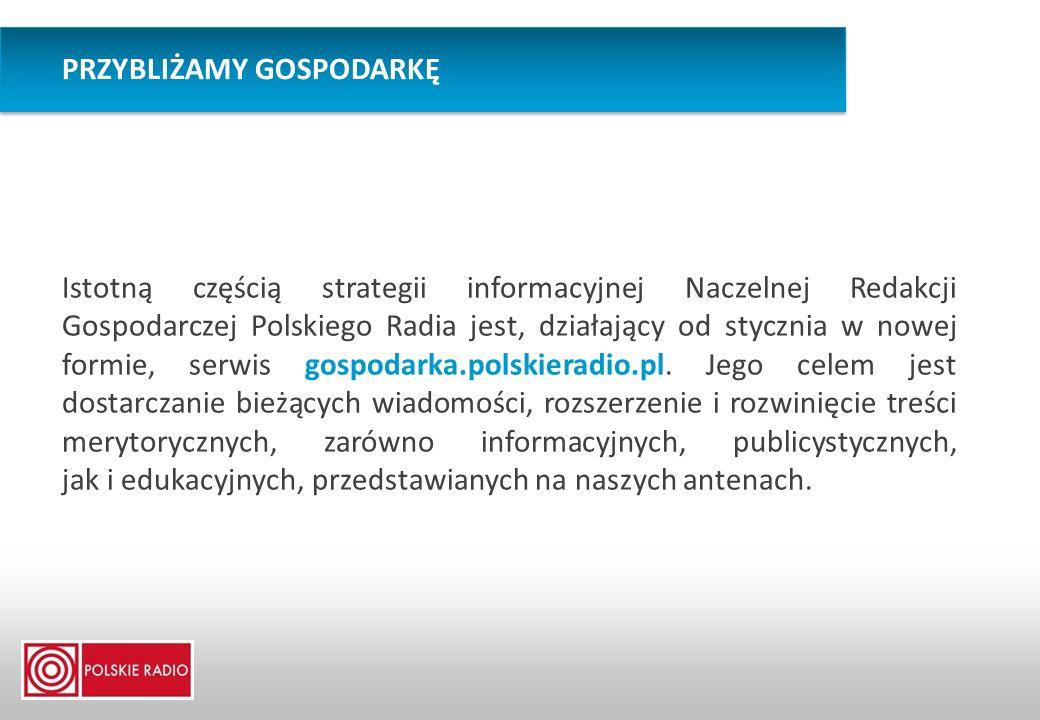 Istotną częścią strategii informacyjnej Naczelnej Redakcji Gospodarczej Polskiego Radia jest, działający od stycznia w nowej formie, serwis gospodarka