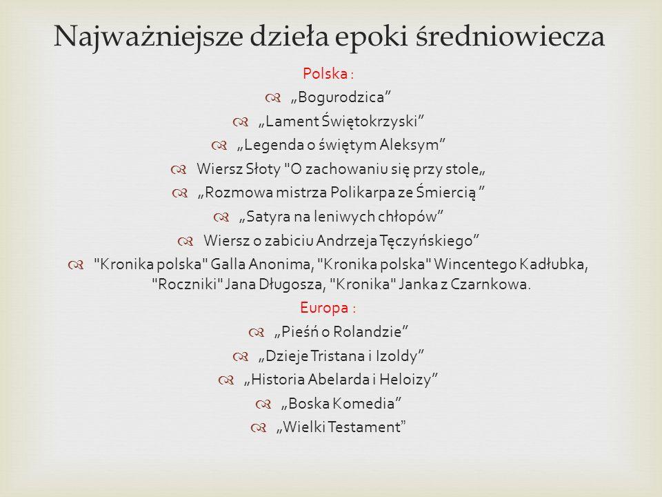Najważniejsze dzieła epoki średniowiecza Polska : Bogurodzica Lament Świętokrzyski Legenda o świętym Aleksym Wiersz Słoty