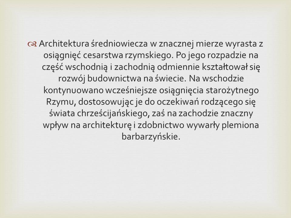 Architektura średniowiecza w znacznej mierze wyrasta z osiągnięć cesarstwa rzymskiego. Po jego rozpadzie na część wschodnią i zachodnią odmiennie kszt