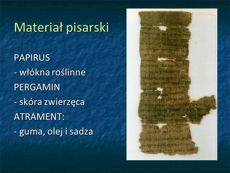 Materiał pisarski PAPIRUS - włókna roślinne PERGAMIN - skóra zwierzęca ATRAMENT: - guma, olej i sadza