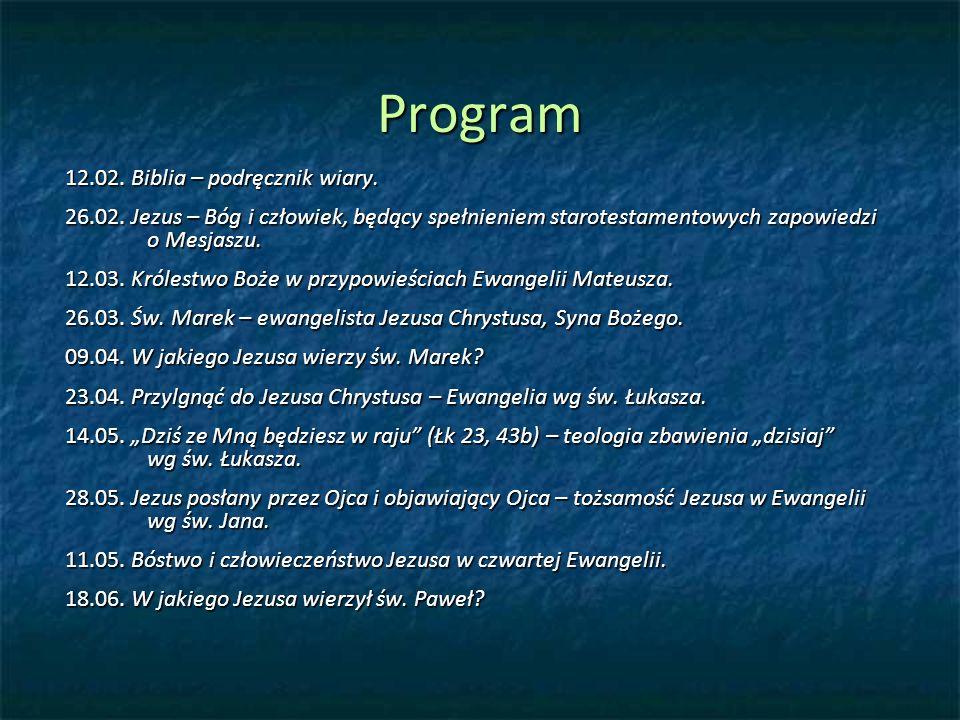 Program 12.02.Biblia – podręcznik wiary. 26.02.