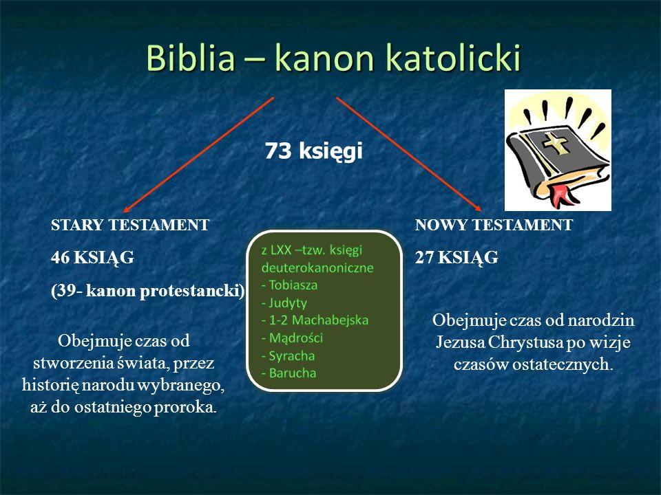 Biblia – kanon katolicki 73 księgi STARY TESTAMENT 46 KSIĄG (39- kanon protestancki) NOWY TESTAMENT 27 KSIĄG Obejmuje czas od stworzenia świata, przez historię narodu wybranego, aż do ostatniego proroka.