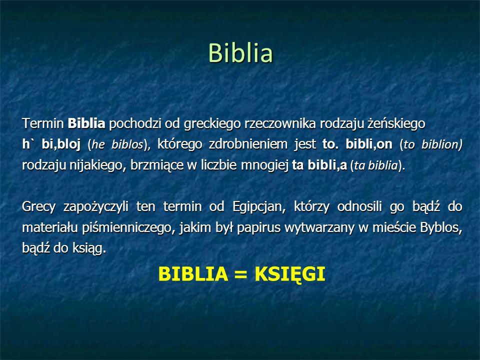 Biblia Termin Biblia pochodzi od greckiego rzeczownika rodzaju żeńskiego h` bi,bloj (he biblos), którego zdrobnieniem jest to.