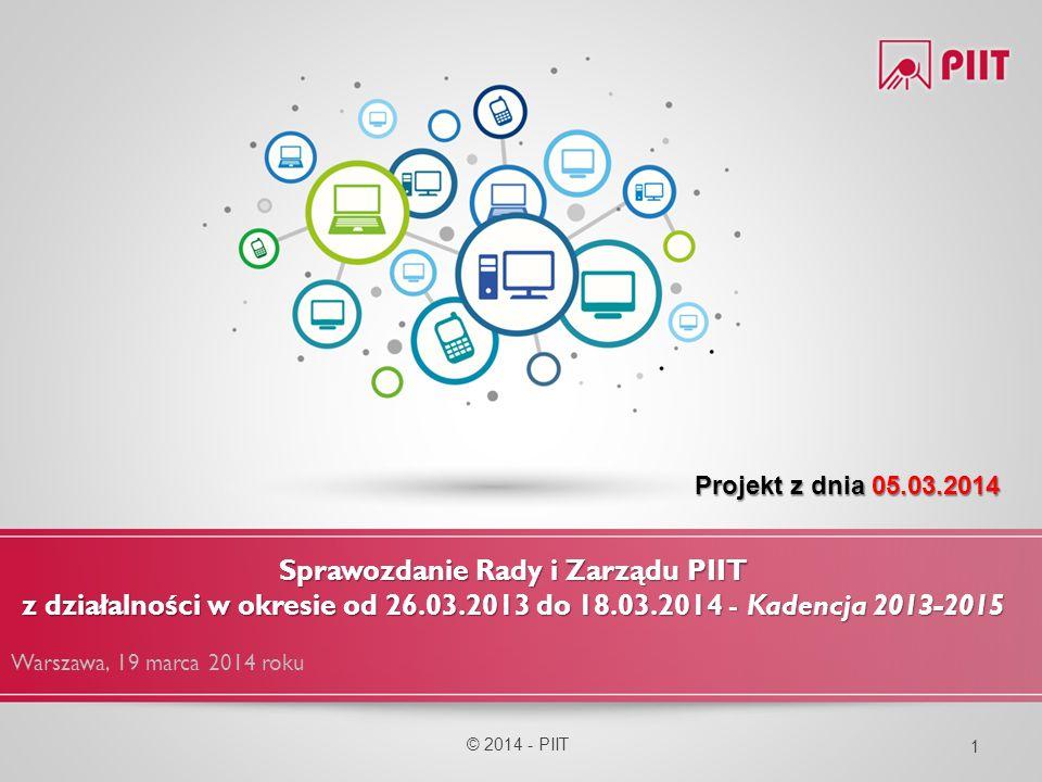Komitet Cyfrowej Edukacji (KCE) Komitet Cyfrowej Edukacji (KCE) © 2014 - PIIT 42 Listy z propozycją współpracy/spotkań do poprzednich i nowych władz MEN, MAiC, MNiSW oraz spotkanie z dyrektorem Ośrodka Rozwoju Edukacji Zgłoszenie uwag do projektu Programu Operacyjnego Polska Cyfrowa 2014-2020 Uwagi do projektu nowelizacji ustawy o systemie informacji oświatowej Konsultacje założeń do ustawy o otwartych zasobach publicznych Udział PIIT w pracach KRASP nt.