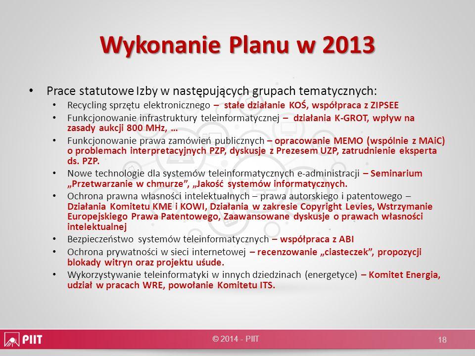 Wykonanie Planu w 2013 Prace statutowe Izby w następujących grupach tematycznych: Recycling sprzętu elektronicznego – stałe działanie KOŚ, współpraca