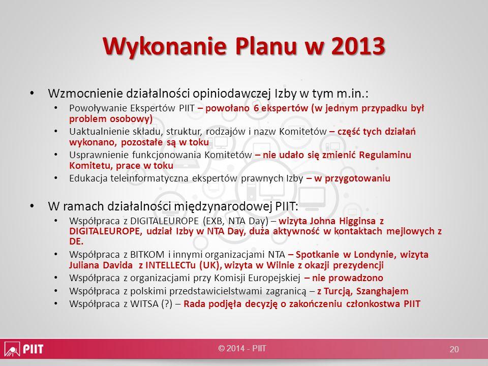 Wykonanie Planu w 2013 Wzmocnienie działalności opiniodawczej Izby w tym m.in.: Powoływanie Ekspertów PIIT – powołano 6 ekspertów (w jednym przypadku