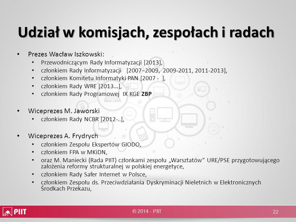 Udział w komisjach, zespołach i radach Prezes Wacław Iszkowski: Przewodniczącym Rady Informatyzacji [2013], członkiem Rady Informatyzacji [2007–2009,