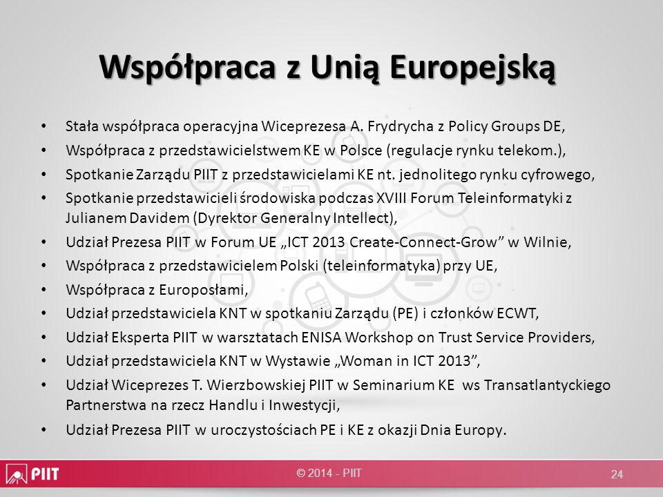 Współpraca z Unią Europejską Stała współpraca operacyjna Wiceprezesa A. Frydrycha z Policy Groups DE, Współpraca z przedstawicielstwem KE w Polsce (re
