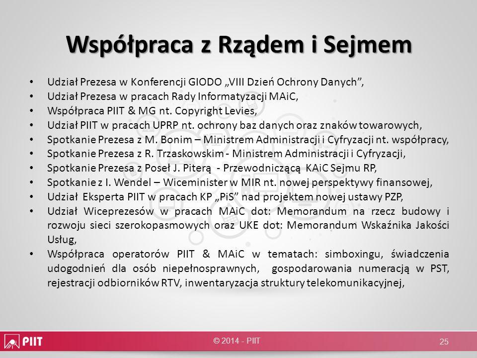 Współpraca z Rządem i Sejmem Udział Prezesa w Konferencji GIODO VIII Dzień Ochrony Danych, Udział Prezesa w pracach Rady Informatyzacji MAiC, Współpra