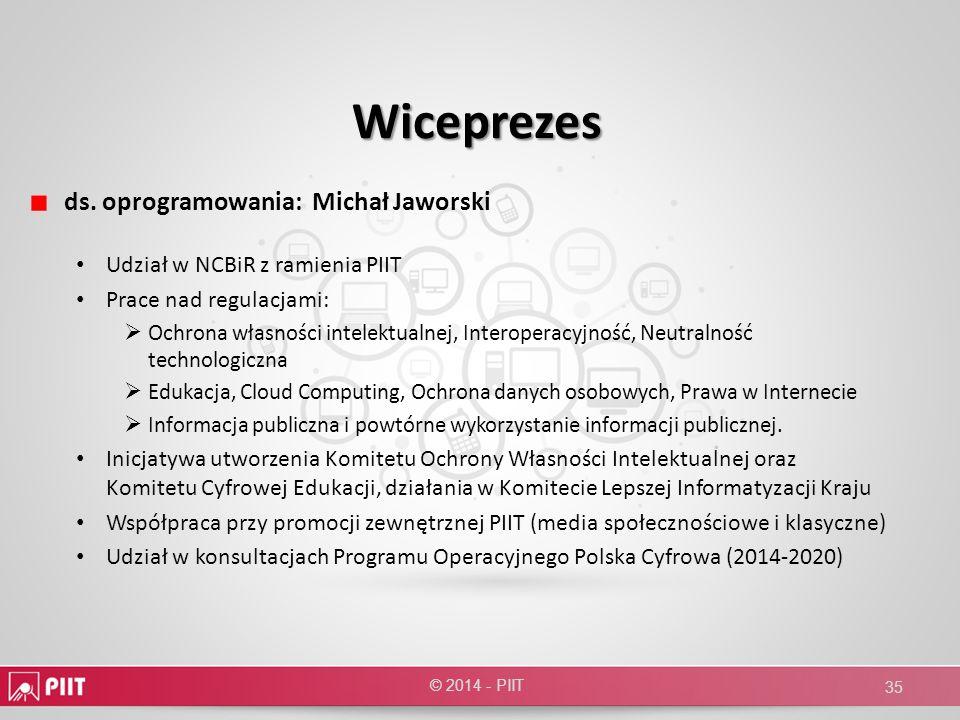 Wiceprezes ds. oprogramowania: Michał Jaworski Udział w NCBiR z ramienia PIIT Prace nad regulacjami: Ochrona własności intelektualnej, Interoperacyjno