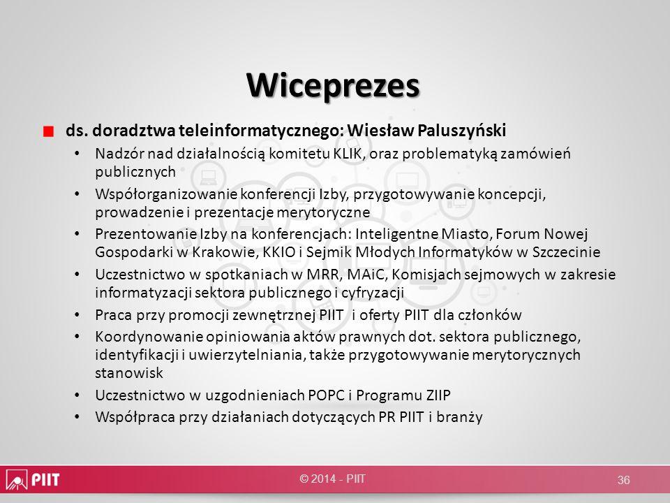 Wiceprezes ds. doradztwa teleinformatycznego: Wiesław Paluszyński Nadzór nad działalnością komitetu KLIK, oraz problematyką zamówień publicznych Współ