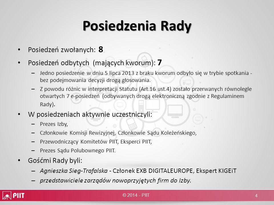 Komitet KZSP (Komitet Zamówień Sektora Publicznego) Ukonstytuował się 23.09.2009 roku Michał Rogalski (mPay) – Przewodniczący, Ewa Wolniewicz-Warska (COZP) - Wiceprzewodnicząca Komitet zajmuje się sprawami związanymi z prawem zamówień publicznych oraz partnerstwem publiczno-prywatnym 22 firm członkowskich Liczba spotkań: 2 © 2014 - PIIT 65