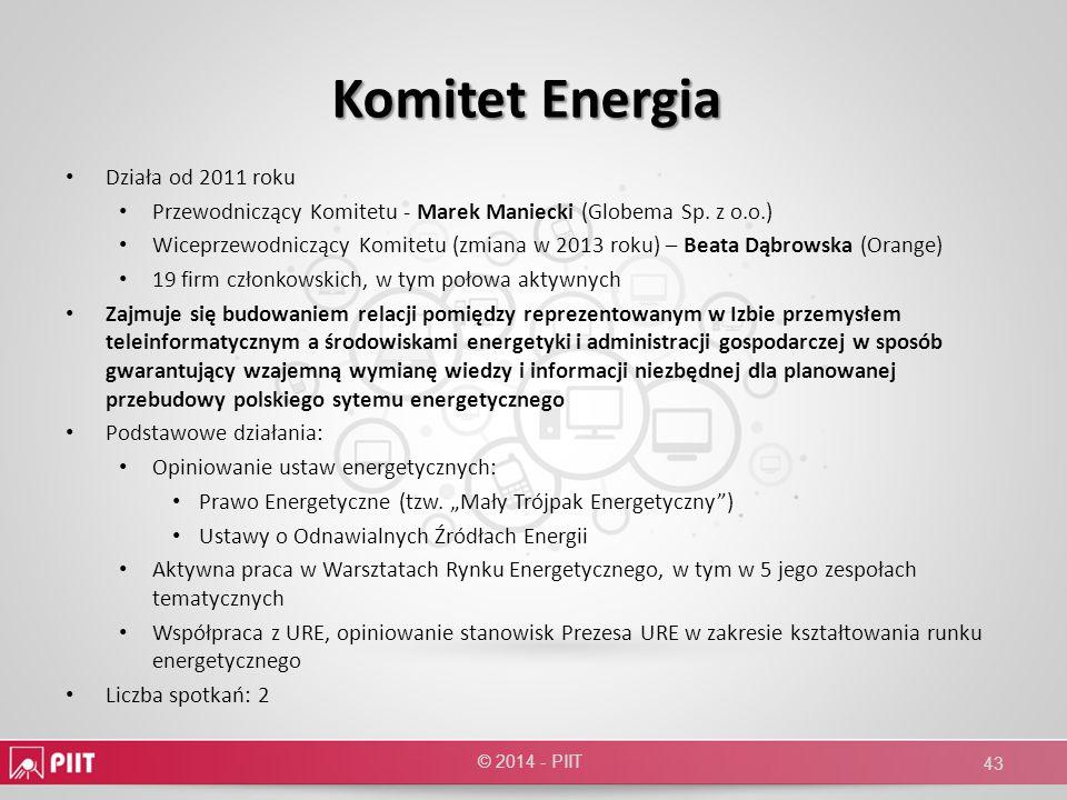 Komitet Energia Działa od 2011 roku Przewodniczący Komitetu - Marek Maniecki (Globema Sp. z o.o.) Wiceprzewodniczący Komitetu (zmiana w 2013 roku) – B