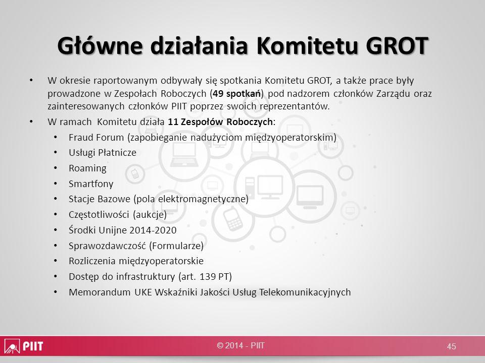 Główne działania Komitetu GROT W okresie raportowanym odbywały się spotkania Komitetu GROT, a także prace były prowadzone w Zespołach Roboczych (49 sp