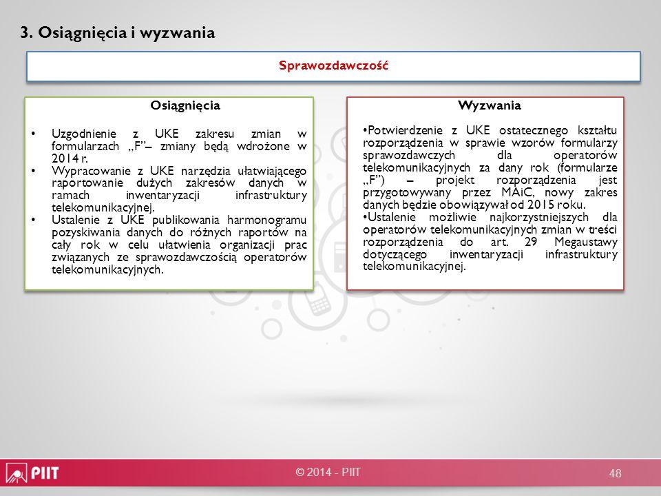 Sprawozdawczość Sprawozdawczość Osiągnięcia Uzgodnienie z UKE zakresu zmian w formularzach F– zmiany będą wdrożone w 2014 r. Wypracowanie z UKE narzęd