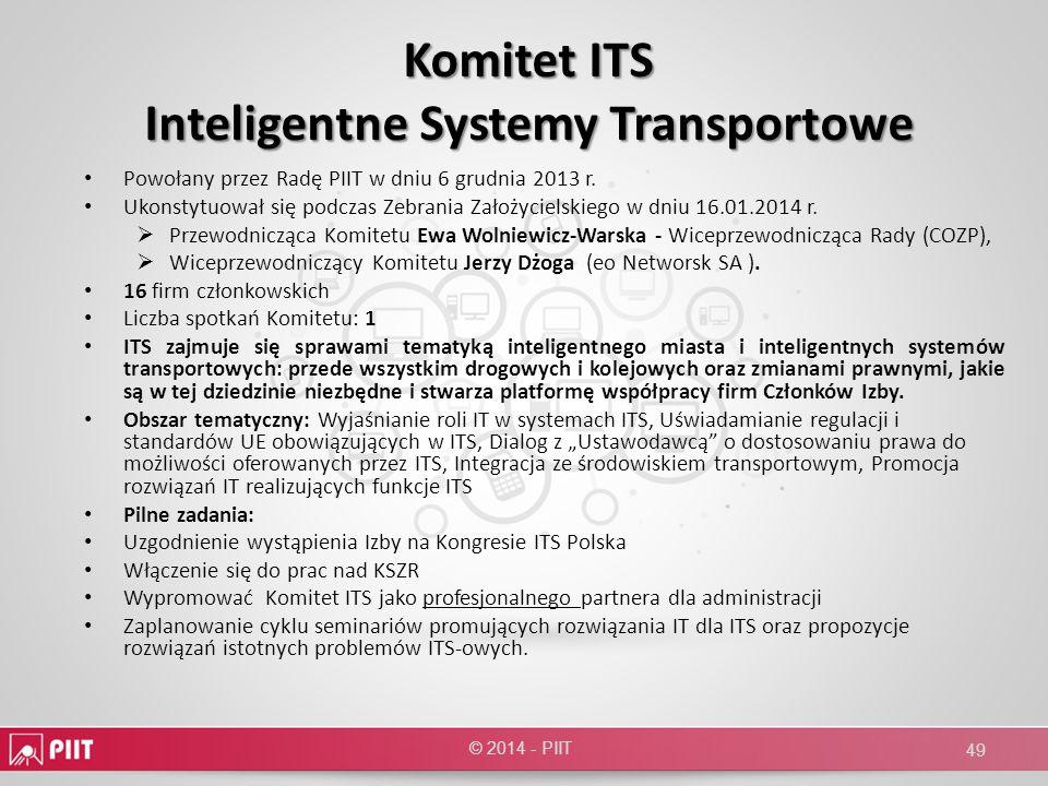Komitet ITS Inteligentne Systemy Transportowe Powołany przez Radę PIIT w dniu 6 grudnia 2013 r. Ukonstytuował się podczas Zebrania Założycielskiego w