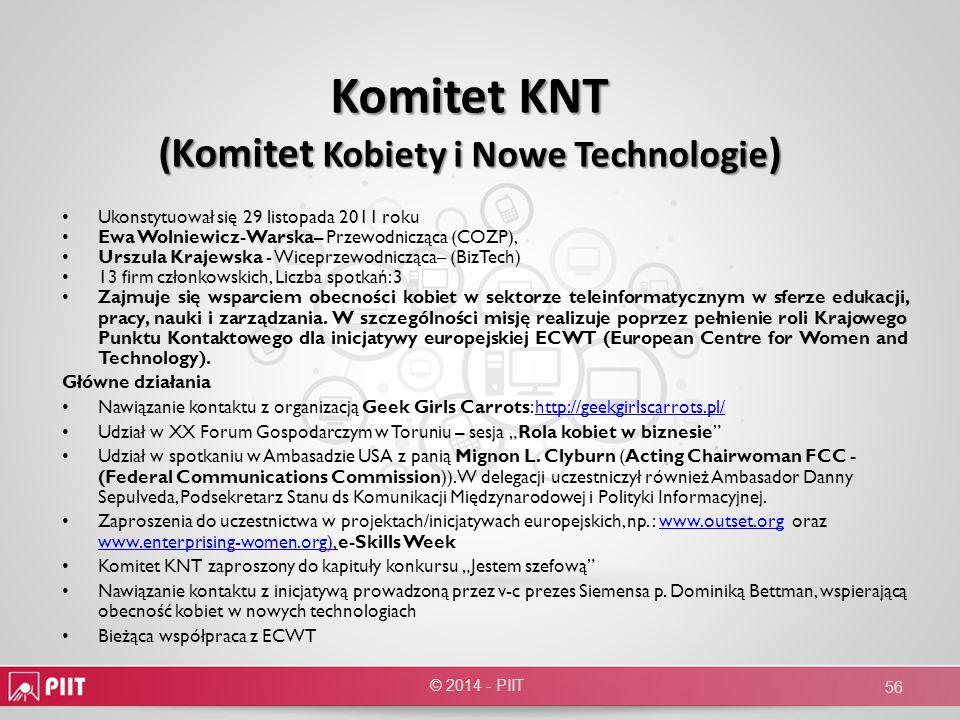 Komitet KNT (Komitet Kobiety i Nowe Technologie ) Ukonstytuował się 29 listopada 2011 roku Ewa Wolniewicz-Warska– Przewodnicząca (COZP), Urszula Kraje