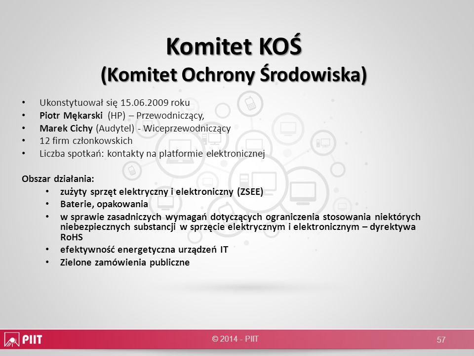 Komitet KOŚ (Komitet Ochrony Środowiska) Ukonstytuował się 15.06.2009 roku Piotr Mękarski (HP) – Przewodniczący, Marek Cichy (Audytel) - Wiceprzewodni