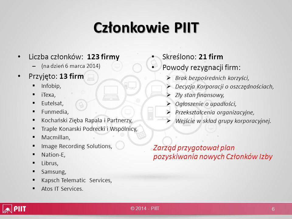 Członkowie PIIT Liczba członków: 123 firmy – (na dzień 6 marca 2014) Przyjęto: 13 firm Infobip, iTexa, Eutelsat, Funmedia, Kochański Zięba Rapala i Pa