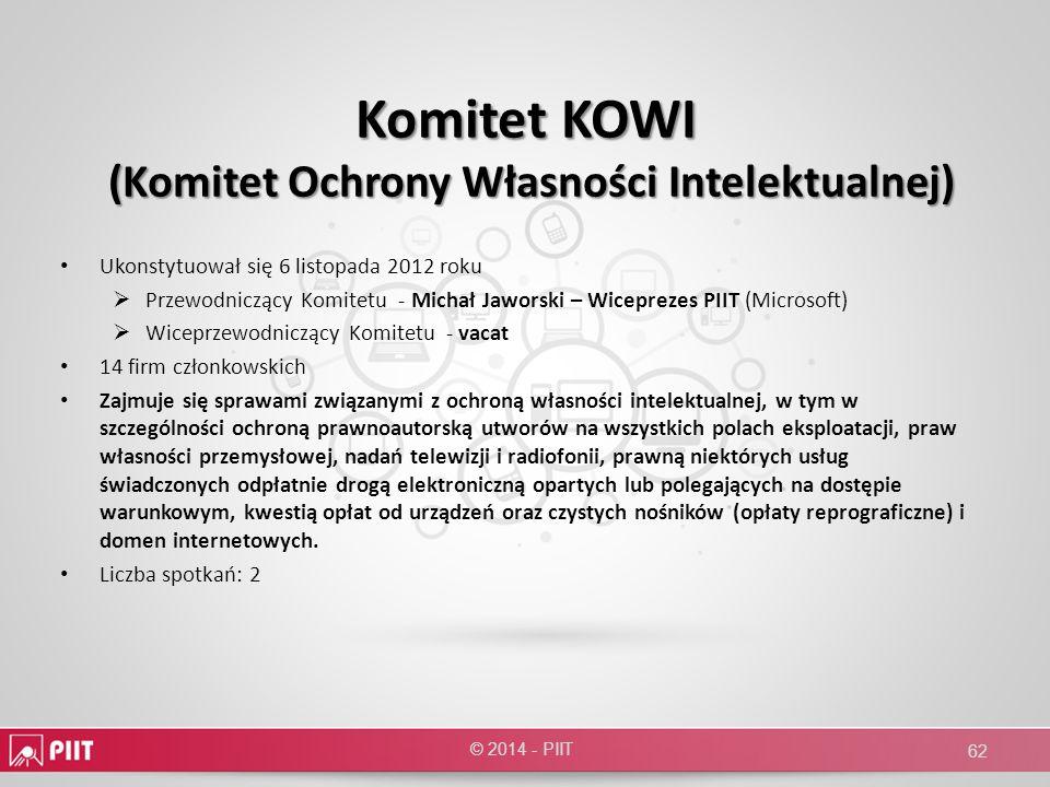 Komitet KOWI (Komitet Ochrony Własności Intelektualnej) Ukonstytuował się 6 listopada 2012 roku Przewodniczący Komitetu - Michał Jaworski – Wiceprezes