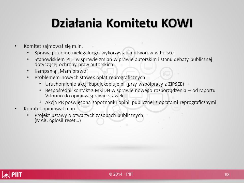 Działania Komitetu KOWI Komitet zajmował się m.in. Sprawą poziomu nielegalnego wykorzystania utworów w Polsce Stanowiskiem PIIT w sprawie zmian w praw