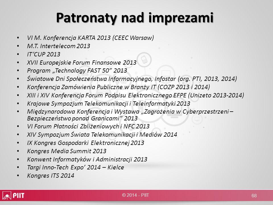 Patronaty nad imprezami VI M. Konferencja KARTA 2013 (CEEC Warsaw) M.T. Intertelecom 2013 ITCUP 2013 XVII Europejskie Forum Finansowe 2013 Program Tec