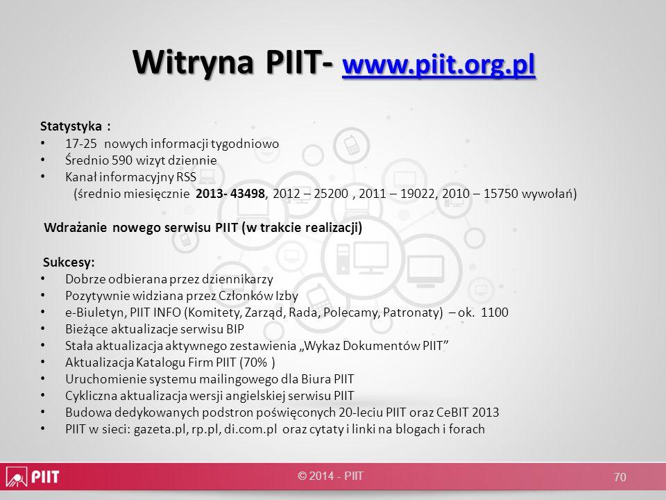 Witryna PIIT- www.piit.org.pl www.piit.org.pl Statystyka : 17-25 nowych informacji tygodniowo Średnio 590 wizyt dziennie Kanał informacyjny RSS (średn