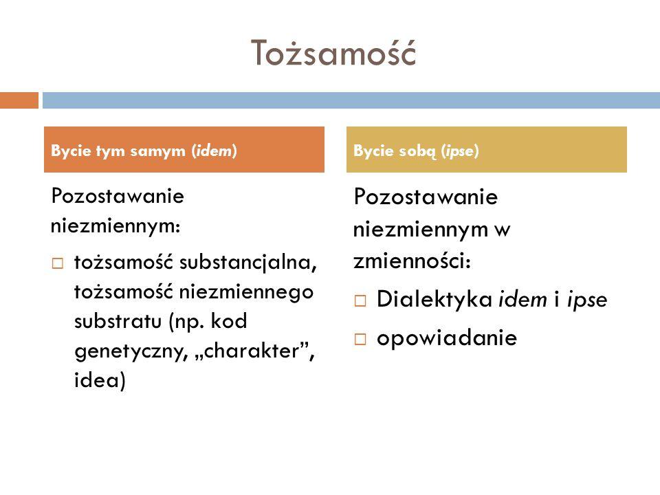 Tożsamość Pozostawanie niezmiennym: tożsamość substancjalna, tożsamość niezmiennego substratu (np. kod genetyczny, charakter, idea) Pozostawanie niezm