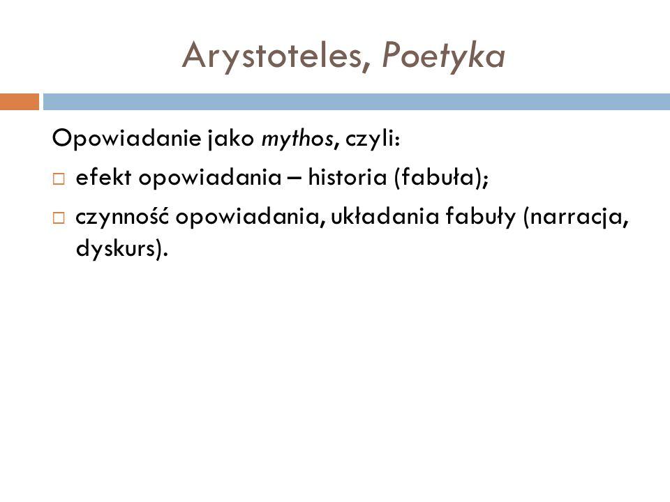 Arystoteles, Poetyka Opowiadanie jako mythos, czyli: efekt opowiadania – historia (fabuła); czynność opowiadania, układania fabuły (narracja, dyskurs).