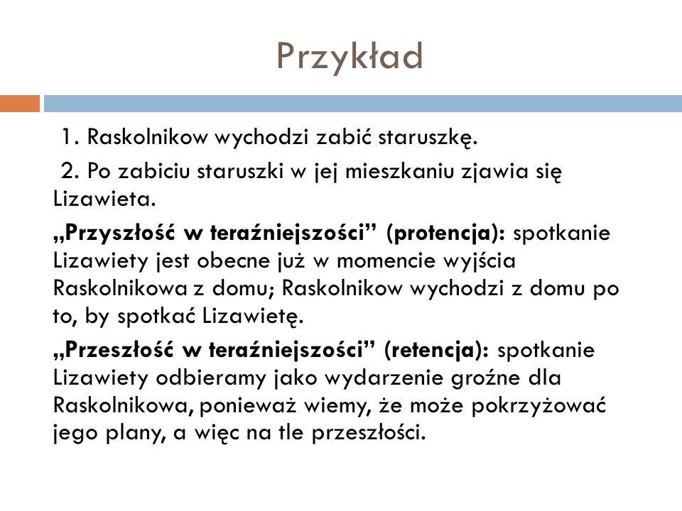 Przykład 1.Raskolnikow wychodzi zabić staruszkę. 2.