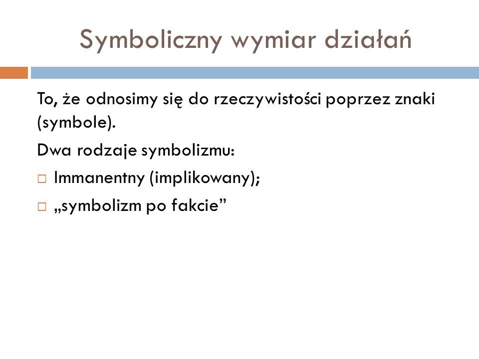 Symboliczny wymiar działań To, że odnosimy się do rzeczywistości poprzez znaki (symbole). Dwa rodzaje symbolizmu: Immanentny (implikowany); symbolizm