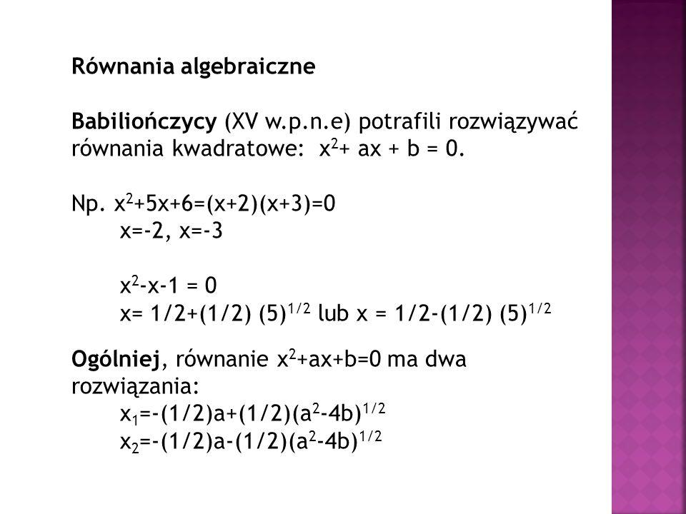 Równania algebraiczne Babiliończycy (XV w.p.n.e) potrafili rozwiązywać równania kwadratowe: x 2 + ax + b = 0. Np. x 2 +5x+6=(x+2)(x+3)=0 x=-2, x=-3 x